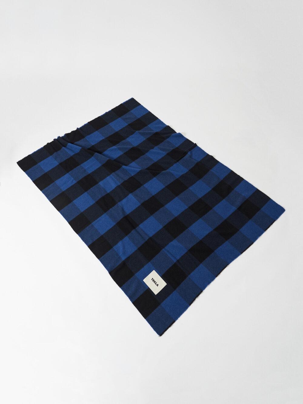 Tekla Fine Merino Blanket Black and Blue
